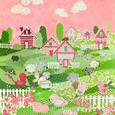 """""""Counting Sheep and Birdies - Pink"""" Girl Nursery Artwork by Winborg Sisters for Oopsy Daisy 21x21 $119 (FREE shipping on all orders thru 2/24)"""