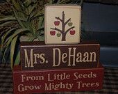 From Little SEEDS Grow Mighty TREES Personalized Teacher Name Apple Tree Primitive Wood Sign Blocks Distressed Stacking Blocks
