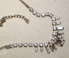 Vintage Silver Coloured & Sparkly Diamantes Necklace - Wedding by GillardAndMay on Etsy