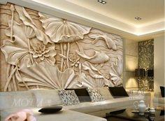 3D-Wallpaper-Bedroom-Mural-Roll-Modern-Luxury-lotus-fish-Background-wall-BJ93