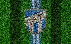 Descargar fondos de pantalla Club Atlético Tucumán, 4k, fútbol de césped, el logotipo, el Argentino de clubes de fútbol de pasto, la textura, los colores blanco, azul líneas, Superliga, San Miguel de Tucumán, Argentina, el fútbol Argentino de Primera División, de la Superleague