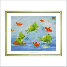 """Poster for baby's bedroom by French artist Sybille Marquis, """"Patouille la grenouille"""". Very colorful"""