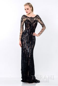 Stunning+nude+illusion+evening+sheath+with+sweeping,+baroque+sequin+embellishment+covering+the+dress+from+neck,+to+sleeves,+to+hem