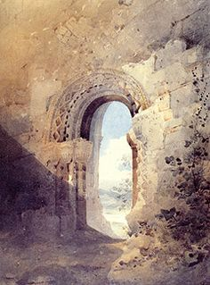 John Sell Cotman, 'Doorway to the Refectory, Kirkham Priory, Yorkshire', 1804, watercolour.