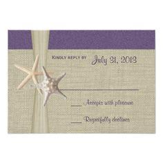 Destination Wedding Reception Cards Beach Amore Purple Response Card