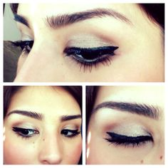 Simple makeup look *maybelline color tattoo bad to the bronze *loreal lineur intense liquid eyeliner *brown color for the crease *maybelline one by one volume express mascara