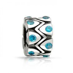Bling Jewelry 925 Sterling Blue Topaz CZ December Birthstone Bead Fits Pandora
