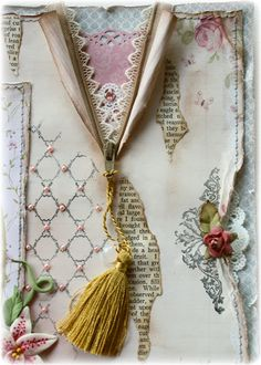 the zipper and all the layers. Also the rolled paper along the side with a stamped image, tiny flower and doily peeking out. Torn and inked pieces of book paper and the Prima stamped lattice with tiny half pearls. Scrapbooking Layouts, Scrapbook Cards, Altered Canvas, Altered Art, Altered Books, Origami, Decoupage, Beautiful Handmade Cards, Easy Diy Projects