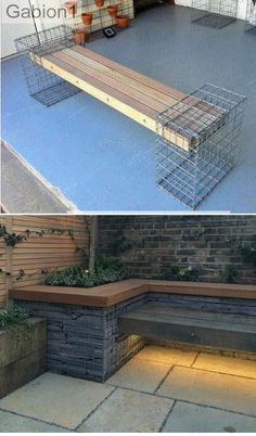gabion-seat-detailing DIY Garden Yard Art When growing your own lawn yard art, recycled and up cycle Backyard Patio, Backyard Landscaping, Banco Exterior, Outdoor Seating, Outdoor Decor, Outdoor Spaces, Diy Garden Seating, Garden Benches, Garden Sofa