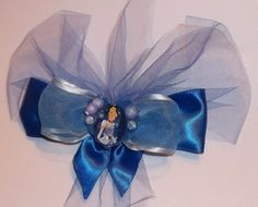 Light and Dark Blue Tulle,Satin Cinderella Layered Boutique Hair Bow | Jenstardesigns - Accessories on ArtFire