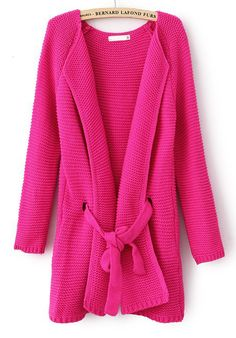 Rose Red Long Sleeve Drawstring Loose Cardigan Sweater.  It's bright & cuddly.