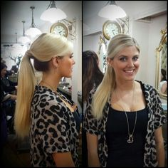 Glam ponytail on Ashley James was achieved by adding a Clip in Ponytail russian hair. Www.tatianahairextensions.co.uk