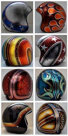 Custom painted 3/4 helmets
