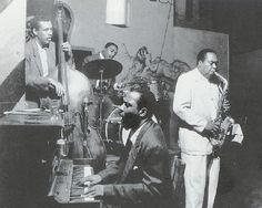 Charles Mingus, Roy Haynes, Thelonious Monk and Charlie Parker jam at The Open Door in Greenwich Village, Sept 1953.