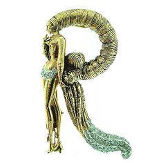 ERTE design Diamond Initial R Pin  USA  1980s  This is a gorgeous initial pin by ERTE CFA . .