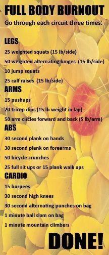 Full body burnout workout!