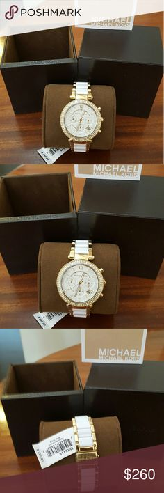 Michael Kors Parker White and Gold Bracelet Watch New Never been worn Tag is still attached I do have the box 39mm MK6119  Accepting offers!!! Michael Kors Accessories Watches