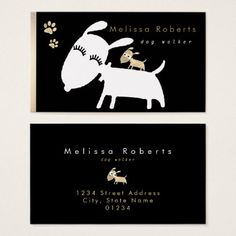 black white faux gold cute cartoon dogs business card - girly gift gifts ideas cyo diy special unique