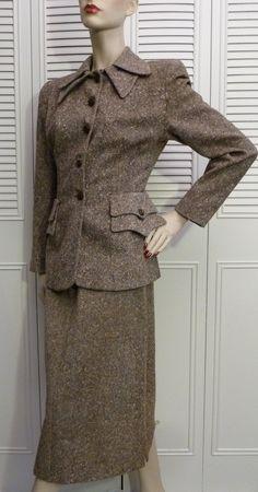 Vintage 1940s Brown Cream TWEED Wool Skirt Suit by GarnetVintage, $85.00
