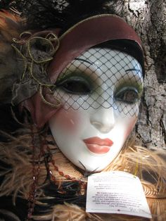 1950's Fashionista Mask by Clay Art of San Francisco by BougieRue