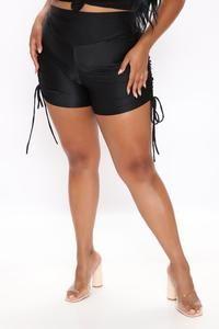 Not So Basic Ruched Shorts - Black – Fashion Nova Swim Shorts Women, Rompers Women, Jumpsuits For Women, Gym Shorts Womens, Black Women Fashion, Red Fashion, Swimsuits For Curves, Women Swimsuits, Jackets For Women
