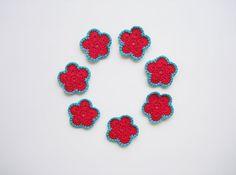 Flower Applique Delicate Bordered Flowers Navy Blue