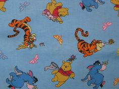 Winnie the Pooh Eeeyore Tigger Piglet Roo blue Spring butterfies birds - by the YARD