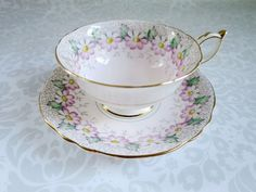 Pink Paragon Teacup and Saucer Set with Pastel by SwirlingOrange11, $59.00