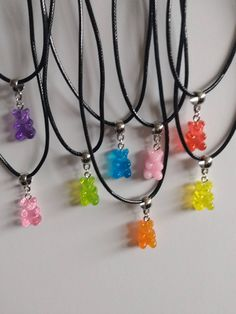 Purple Necklace, Cute Necklace, Beaded Necklace, Homemade Necklaces, Homemade Jewelry, Bff Necklaces, Cute Keychain, Magical Jewelry, Gummy Bears