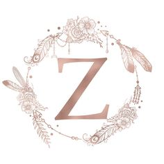 Letter Z Rose Gold Pink Initial Monogram Comforters by Nature Magick - Queen: x Monogram Wallpaper, Z Wallpaper, Alphabet Wallpaper, Monogram Initials, Monogram Letters, Monogram Canvas, Monogram Stickers, Floral Letters, Rose Gold Pink