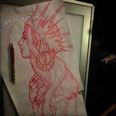 Jeff Norton Tattoos : Illustrations : Original Art : Page 1 Tattoo Sketches, Tattoo Drawings, Drawing Sketches, Art Drawings, Hai Tattoos, Desenho Tattoo, Flash Art, Pretty Art, Love Art