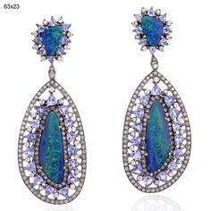 Blissful Gemstone Dangle Earrings with opals by Gemco Designs, India #opalsaustralia