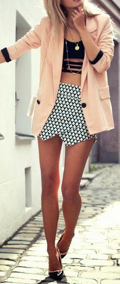 peach blazer, black prints + valentino rock stud heels.
