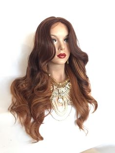 TAKE IT Brown Ombre Hair Curly Body Lace Front Wig by TurtlesCandy