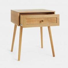 Bring an earthy feel to your bedroom with our Rattan Bedside Table. This wicker bedside table combines solid pine wood, rattan weave & ash wood veneer. Design Furniture, Bedroom Furniture, Cane Furniture, Wicker Bedroom, Furniture Storage, Furniture Ideas, Rattan, Dressing Table Storage, Dressing Room