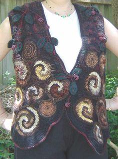 Kaye Adolphson Designs. Blackberries on the woodpile.  Freeform crochet