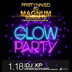 Magnum Sundays Glow Party   F6ix Glow Run, Club Flyers, Glow Party, Bubbles, Sunday, Neon Signs, Bottle, Domingo, Flask