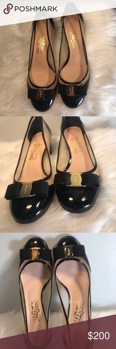 6b680bfc4ce5 Ferragamo Women s Vara Zig Zag Net Block Heel Ferragamo Women s Black  Patent Leather with Pink Vara