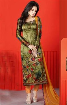 Likeable Green Printed Satin Paki Fashion Dress  #PakistaniSuits  #Pakistani NewDesigns #InspiringSuits #SpecialLook #FunctionWear #PartyCollection #PartySalwar #PakistaniStraight Styles #ModernWear