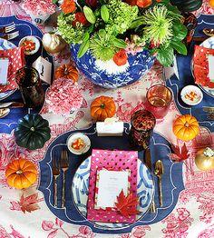 Boho meets preppy, colorful furbish table