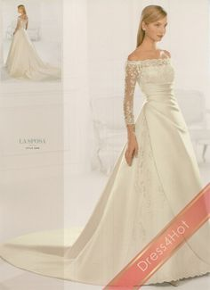 Satin Ivory A-Line Tip of the Shoulder Empire Waist 3/4 Length Sleeves Long Pleated Wedding Dresses V1