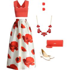 red and white floral / Polyvore