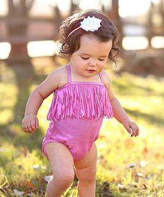 Love this Shimmer Pink Fringe One-Piece - Infant, Toddler & Girls on #zulily! #zulilyfinds