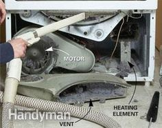 Vacuum out the lint from dryer ( scroll down for front access panel instructions)