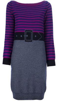 SONIA RYKIEL Striped Belted Knit Dress