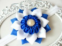 Baby girls elastic headband.Newborn headband.Japanese style flower headband.Photo Prop. Christenings. Kanzashi flower girls headband. by JuLVa on Etsy