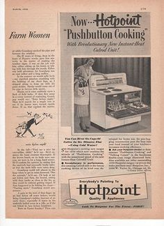 Amazon.com: Hotpoint Pushbutton Cooking Stove Kitchen 1950 Vintage Antique Advertisement: Prints: Posters & Prints