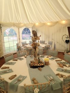 Duck egg blue with hessian is a wonderful combination Coastal Colors, Duck Egg Blue, Hessian, Your Perfect, Wedding Stuff, Color Schemes, Colour, Table Decorations, Weddings