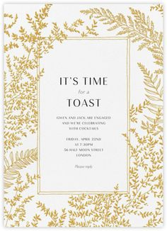 While a traditional engagement party is not necessary for shorter engagements (read: under a year), friends and loved ones will want to toast the happ… - Surprise Engagement Party, Surprise Wedding, Engagement Parties, Engagement Party Invitations, Gold Wedding Invitations, Elegant Invitations, Wedding Stationery, Wedding Cards, Wedding Engagement