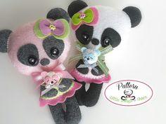 Mommy Panda PDF Pattern-Panda doll sewing pattern-Cute Panda plush toy-Girl present-Baby shower present-Wool felt panda toy-Teddy bear
